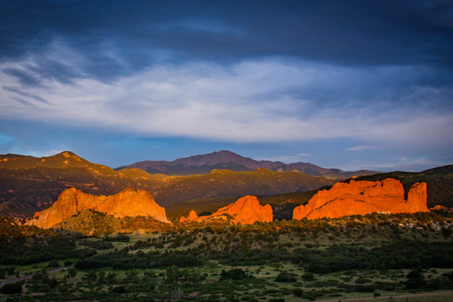 Sunrise over Garden of the Gods with Pike's Peak visible in the background.