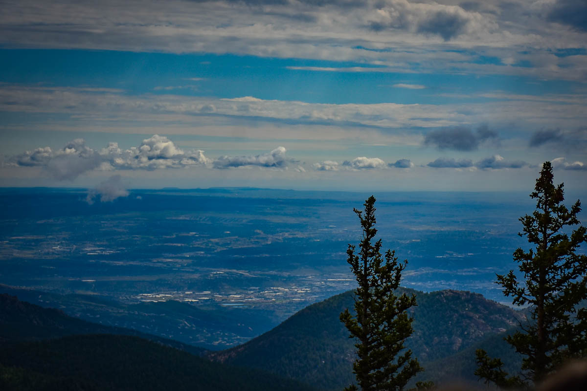 View over the great plains as we headed up Pikes Peak