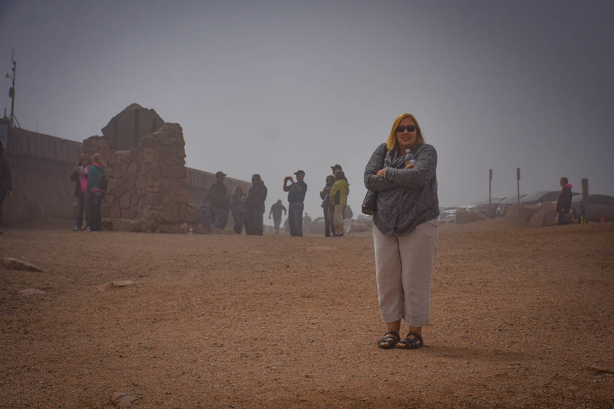 Crystal on the top of Pikes Peak.   It was 38 degrees but felt at least 45.