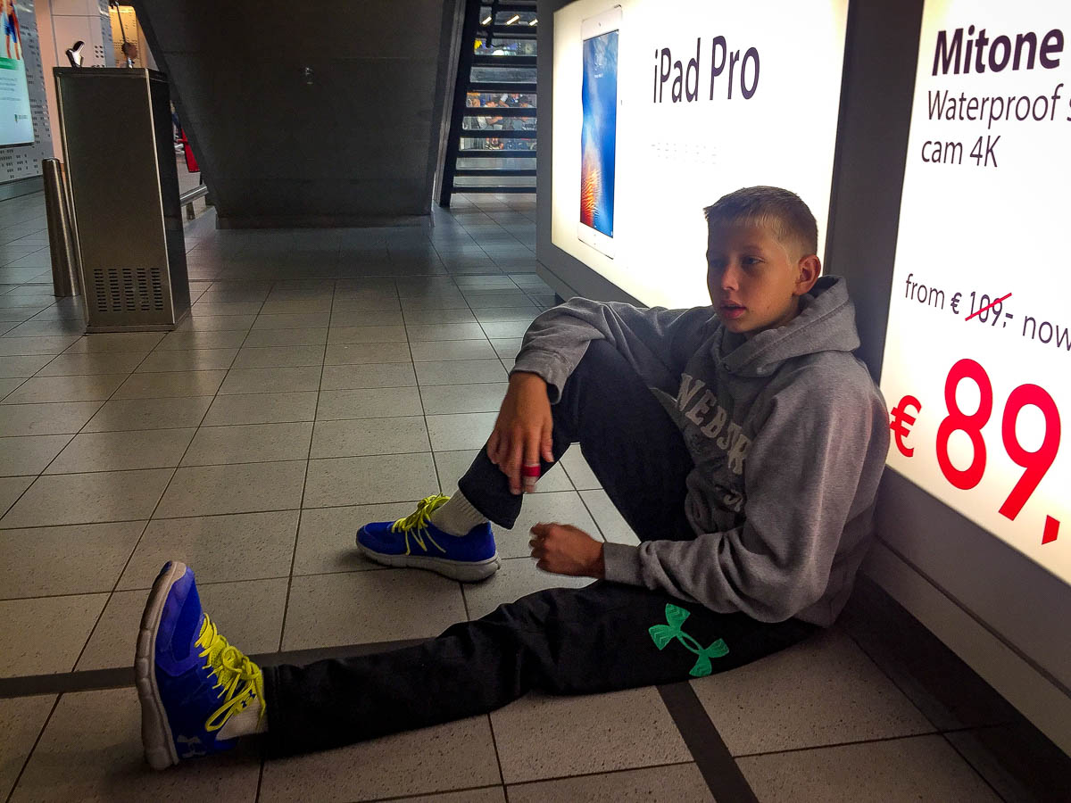 Kai takes a rest in Schipol airport Amsterdam.