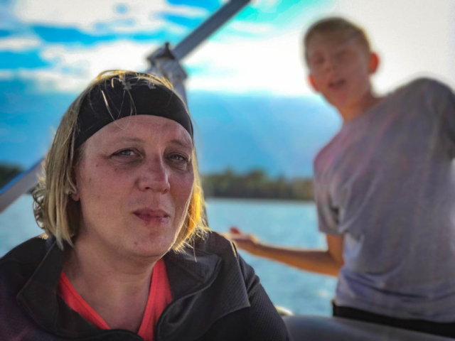 Crystl and Kai on the boat