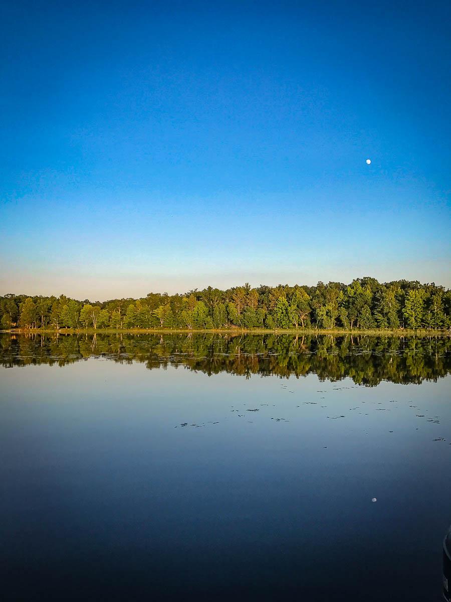 Moon reflected over Bass Lake