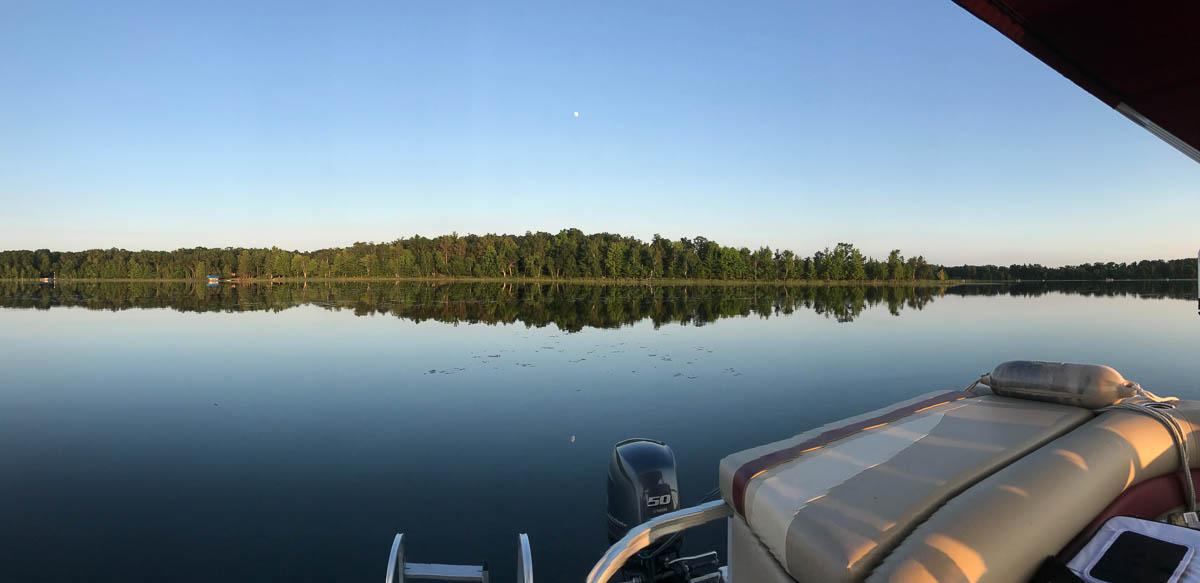 Pontoon, moon and Bass Lake