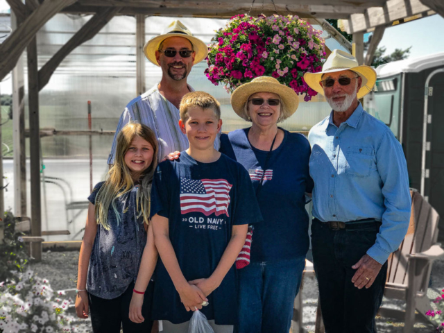 The Jacobs family at the famer's market in Baron - Crystal was there too but behind the lens.