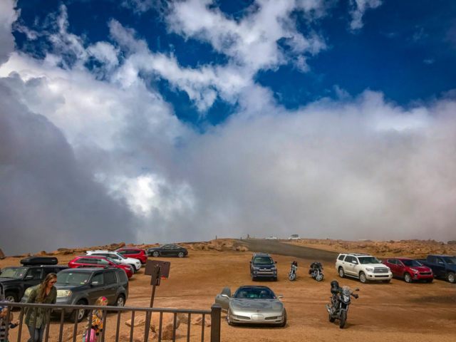 A glimpse of sunshine briefly poked through on top of Pikes Peak