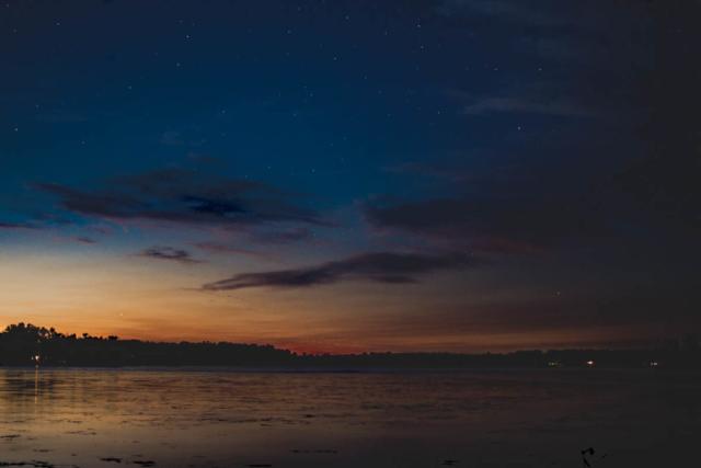 Sunset and stars over Bass Lake