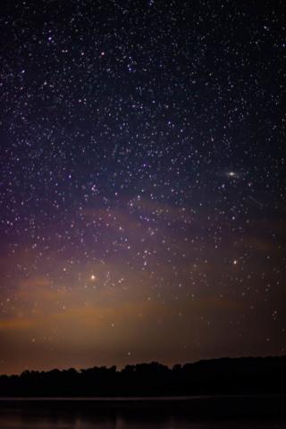 Stars and aurora over Bass Lae