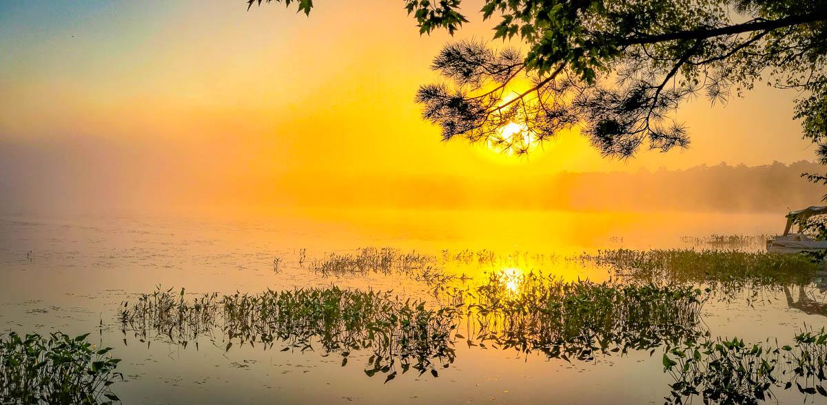 Foggy morning on Bass Lake